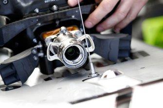 Detail of Valtteri Bottas' steering wheel