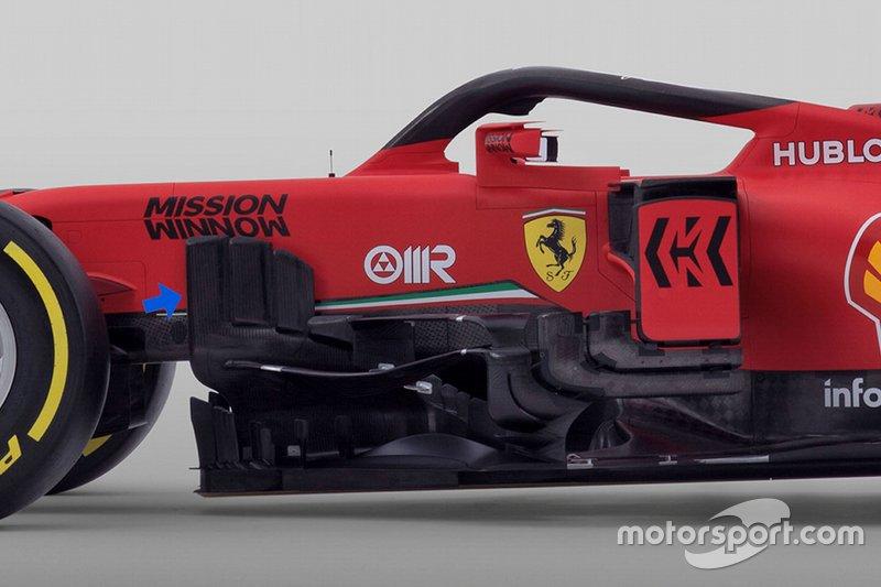 Detalle de los sidepods del Ferrari SF1000