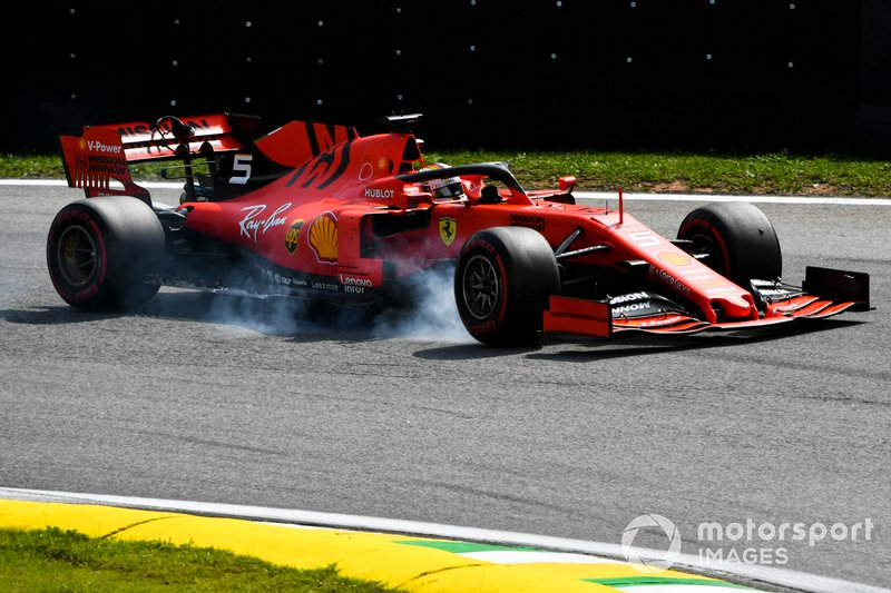 Sebastian Vettel, Ferrari SF90, bloccaggio