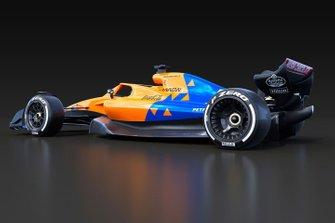 Машина Ф1 2021 года в ливрее McLaren