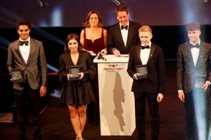 Enaam Ahmed, Jamie Chadwick, Johnathan Hoggard and Ayrton Simmons on stage for the BRDC Young Driver of the Year award presentation
