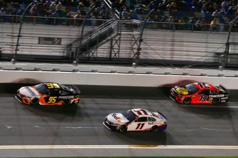 Christopher Bell, Leavine Family Racing, Toyota Camry Procore, Denny Hamlin, Joe Gibbs Racing, Toyota Camry FedEx Express and Martin Truex Jr., Joe Gibbs Racing, Toyota Camry Bass Pro Shops