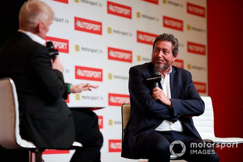 Gerard Neveu, CEO of FIA WEC and ELMS is interviewed on the Autosport stage