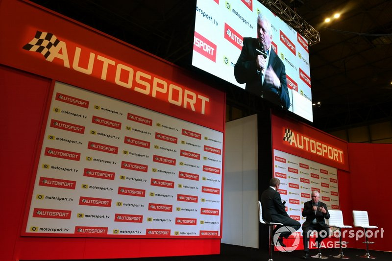 Pat Symonds is interviewed on the Autosport stage