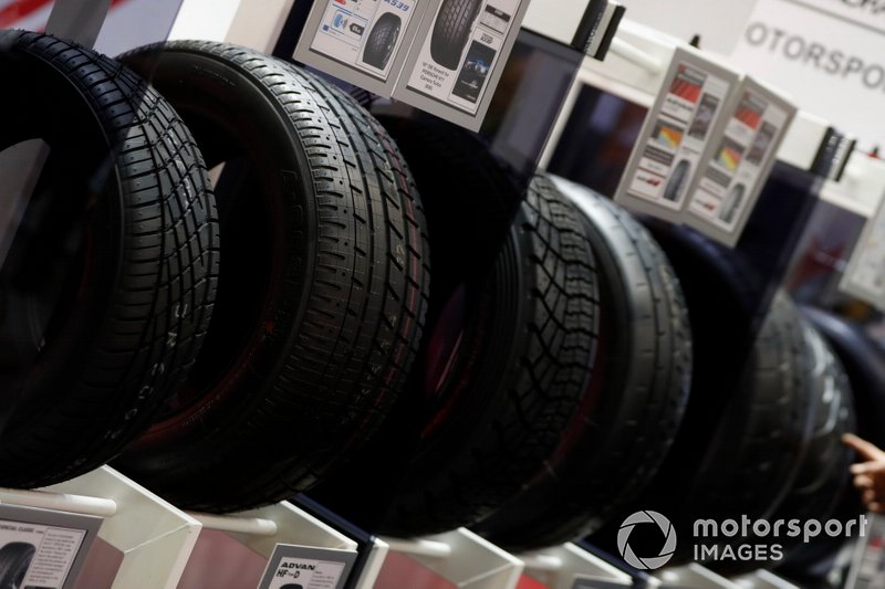 A variety of tyres on a stand