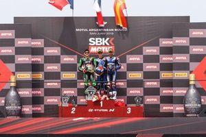 Podium SSP: Race winner Jules Cluzel, GMT94 Yamaha, second place Lucas Mahias, Kawasaki Puccetti Racing, third place Isaac Vinales, Kallio Racin
