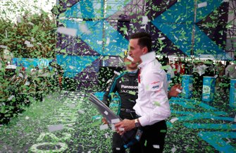 Mitch Evans, Jaguar Racing, James Barclay, Team Director, Panasonic Jaguar Racing celebrate on the podium