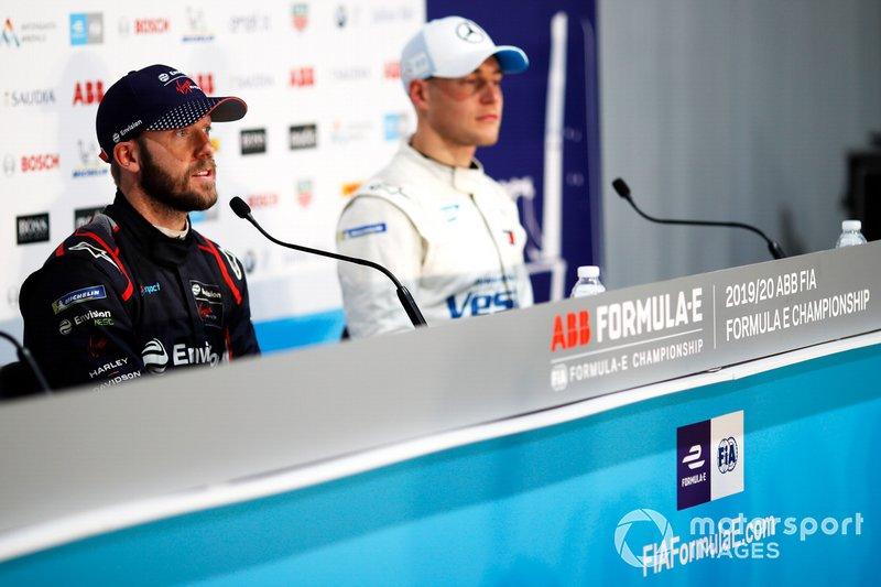 Sam Bird, Virgin Racing, Audi e-tron FE06, Stoffel Vandoorne, Mercedes Benz EQ, EQ Silver Arrow 01, in the press conference
