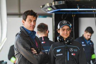 Toto Wolff, Team Principal of Mercedes AMG F1 Team with Esteban Gutierrez, Reserve, Development Driver, Mercedes Benz EQ in the garage