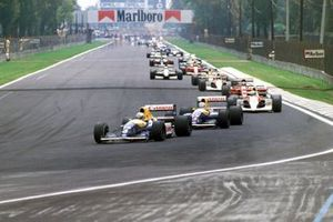 Riccardo Patrese, Williams FW14 Renault, Nigel Mansell, Williams FW14 Renault, Ayrton Senna, McLaren MP4-6 Honda, startta