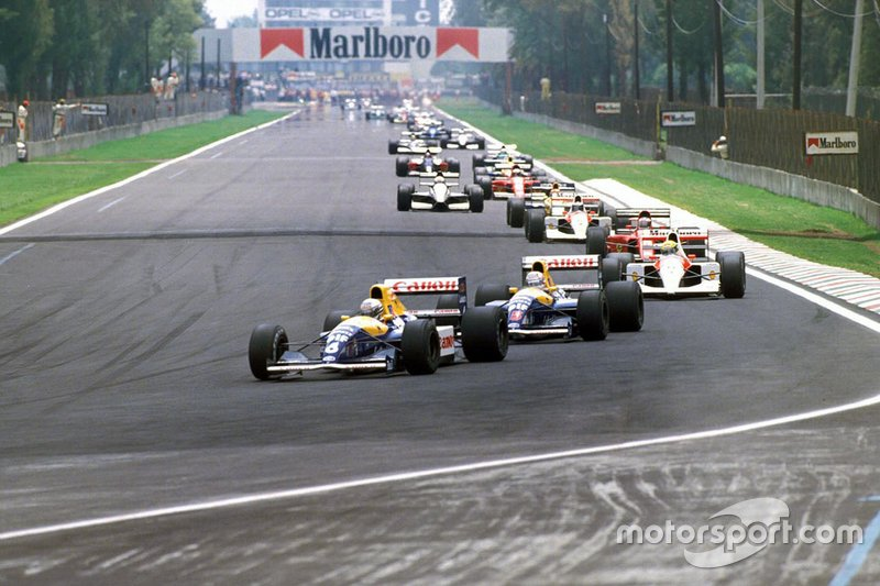 Riccardo Patrese, Williams FW14 Renault, Nigel Mansell, Williams FW14 Renault, y Ayrton Senna, McLaren MP4-6 Honda