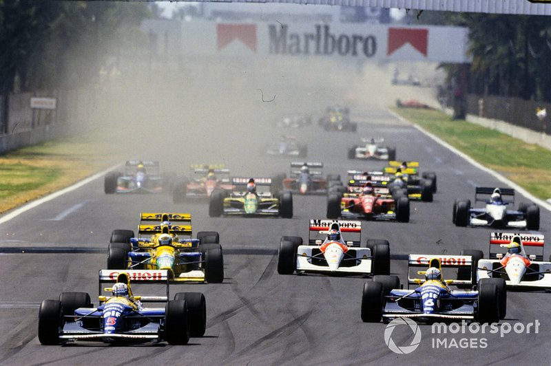 Start zum GP Mexiko 1992 in Mexico City: Nigel Mansell, Williams FW14B, führt