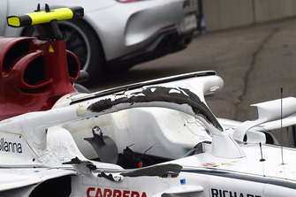 Damaged halo on the crashed car of race retiree Charles Leclerc, Sauber C37
