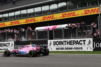 Sergio Perez, Racing Point Force India VJM11 crosses the line