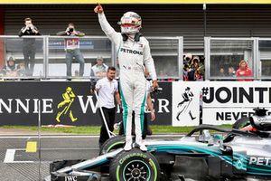 Pole sitter Lewis Hamilton, Mercedes AMG F1 W09 celebrates in parc ferme