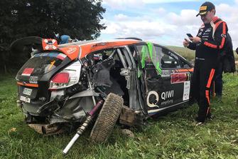 La Ford Fiesta R5 di Alexey Lukyanuk dopo l'incidente