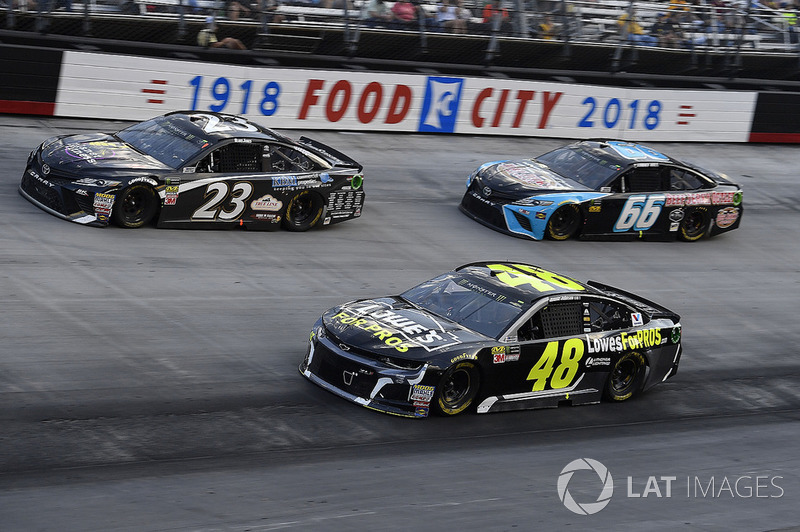 Jimmie Johnson, Hendrick Motorsports, Chevrolet Camaro Lowe's for Pros, Blake Jones, BK Racing, Toyota Camry Tennessee XXX Moonshine, and Timmy Hill, Motorsports Business Management, Toyota Camry