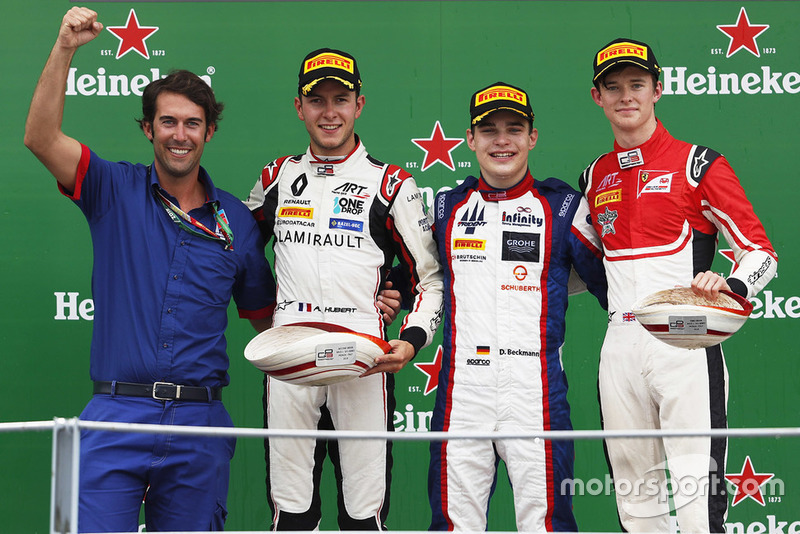 Podio: David Beckmann, Trident, Anthoine Hubert, ART Grand Prix, Callum Ilott, ART Grand Prix