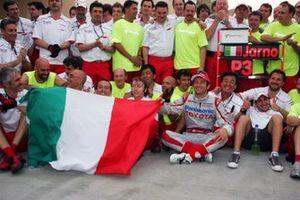 Jarno Trulli, Toyota celebrates his third position with the team