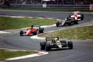 Ayrton Senna, Lotus 97T Renault leads Michele Alboreto, Ferrari 156/85
