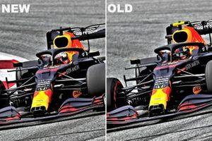 Un confronto tra il nuovo e il vecchio muso della Red Bull Racing RB16