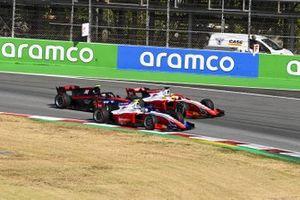 Robert Shwartzman, Prema Racing, leads Mick Schumacher, Prema Racing, and Callum Ilott, UNI-VIRTUOSI