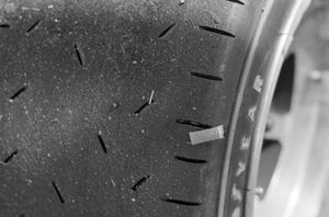 The tread on the Goodyear tyre