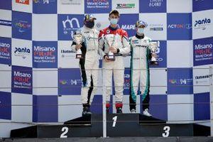 Il podio: secondo posto, Simone Pellegrini, Scuderia del Girasole, primo posto Eric Brigliadori, BF Motorsport, terzo posto Felice Jelmini, PMA Motorsport,