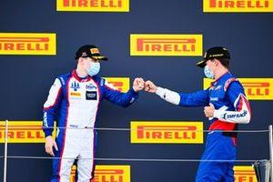 David Beckmann, Trident and Race Winner Alexander Smolyar, ART Grand Prix celebrate on the podium
