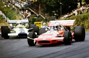 Mario Andretti, March 701 Ford leads Pete Lovely, Lotus 49B Ford