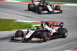 Romain Grosjean, Haas VF-20, leads Kevin Magnussen, Haas VF-20