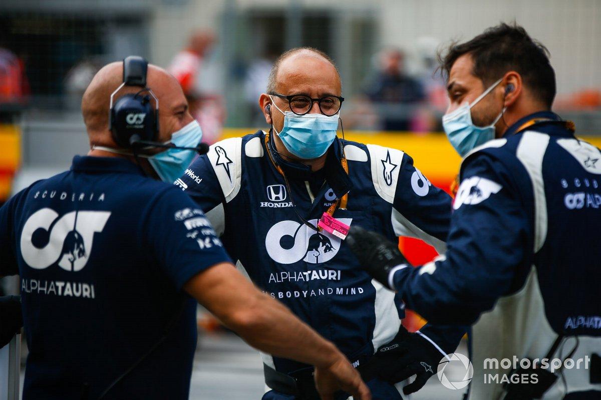 Alpha Tauri team members on the grid