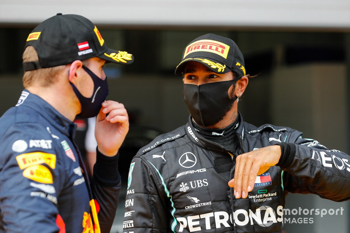 Lewis Hamilton, Mercedes-AMG Petronas F1 and Max Verstappen, Red Bull Racing