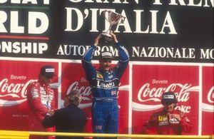 Nigel Mansell, Williams, Ayrton Senna, McLaren, Alain Prost, Ferrari, Jean-Marie Balestre, Presidente FIA, GP d'Italia del 1991