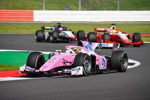 Artem Markelov, BWT HWA Racelab, leads Mick Schumacher, Prema Racing, and Louis Deletraz, Charouz Racing System