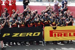 The Red Bull team celebrate a podium finish for Max Verstappen, Red Bull Racing
