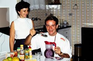 Rubens Barrichello with his mother