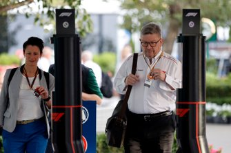 Ross Brawn, Managing Director of Motorsports, FOM arrives at the circuit