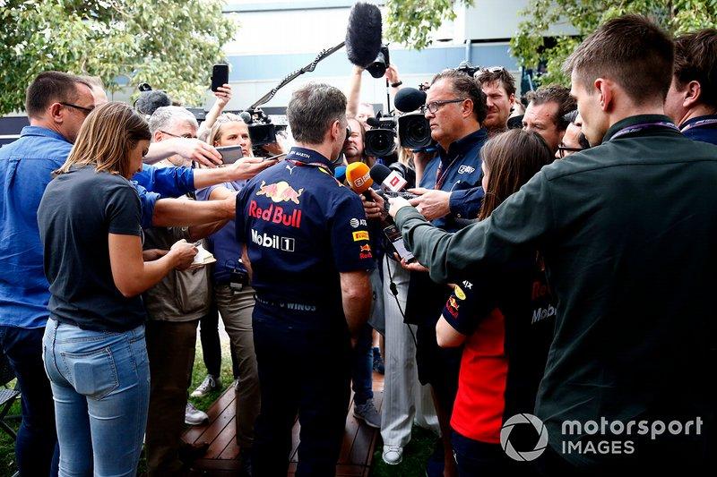 Christian Horner, Team Principal, Red Bull Racing talks to the press