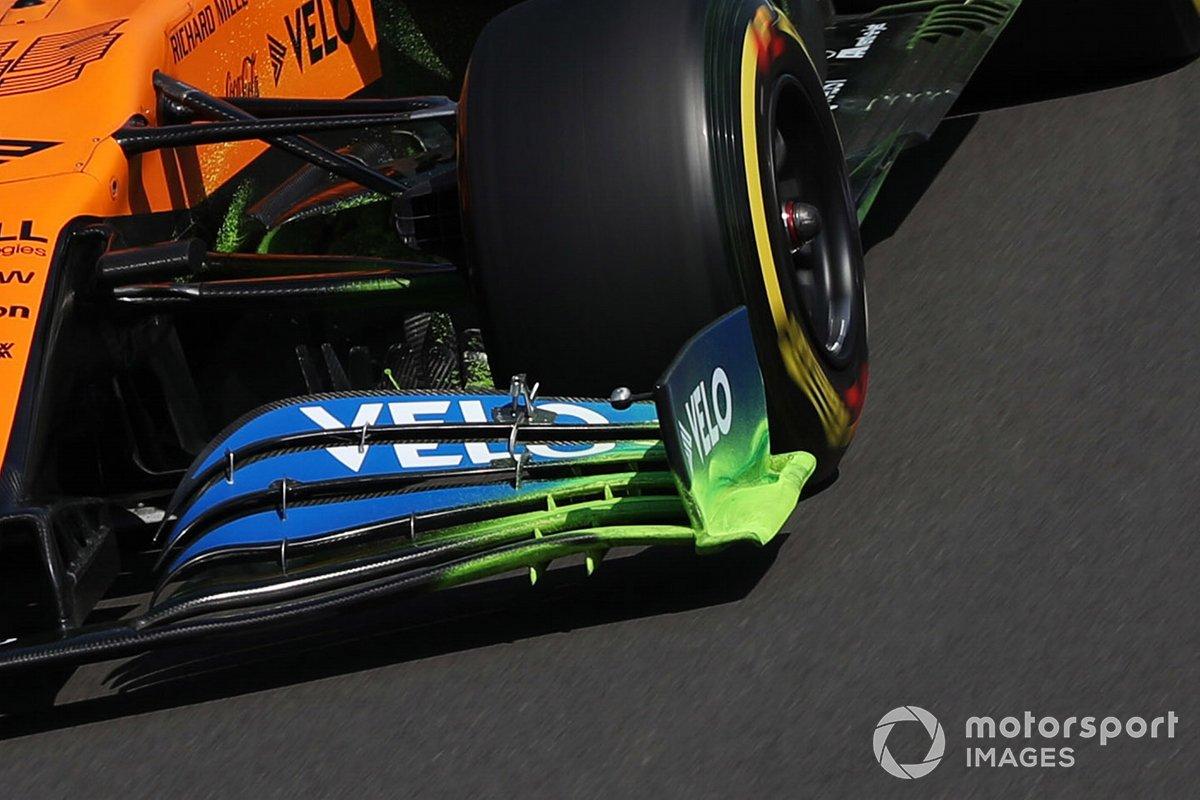 Detalle del flujo del alerón delantero del McLaren MCL35