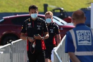 Alex Albon, Red Bull Racing arrives at the track