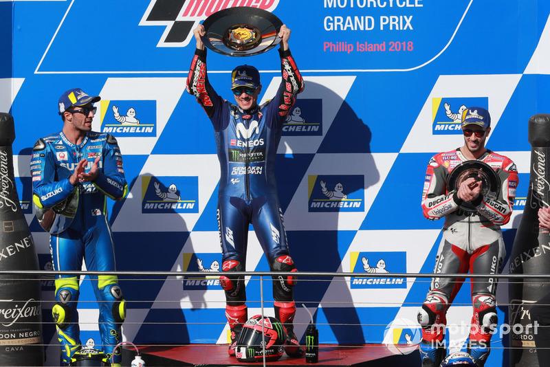 Le podium : Maverick Viñales, Andrea Iannone, et Andrea Dovizioso