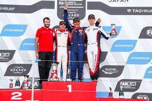 Podium: Race winner Gabriele Tarquini, BRC Racing Team Hyundai i30 N TCR, second place Aurélien Comte, DG Sport Competition Peugeot 308TCR, third place Kevin Ceccon, Team Mulsanne Alfa Romeo Giulietta TCR