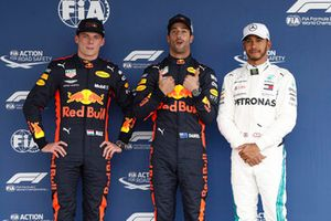 Top three Qualifiers, second placed Max Verstappen, Red Bull Racing, pole man Daniel Ricciardo, Red Bull Racing, and Lewis Hamilton, Mercedes AMG F1