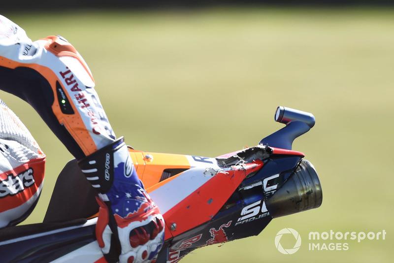 Detail kerusakan motor Marc Marquez, Repsol Honda Team
