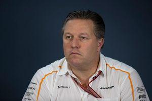 Zak Brown, directeur exécutif de McLaren Racing, en conférence de presse