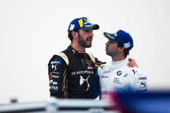 second position Jean-Eric Vergne, DS TECHEETAH, winner Antonio Felix da Costa, BMW I Andretti Motorsports congratulate each other in parc ferme