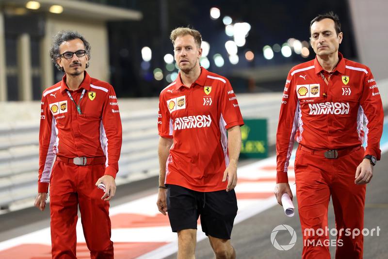 Sebastian Vettel, Ferrari walks the track with Laurent Mekies, Ferrari and Riccardo Adami (ITA) Ferrari Race Engineer