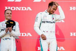 Second place Valtteri Bottas, Mercedes AMG F1, and Race winner Lewis Hamilton, Mercedes AMG F1
