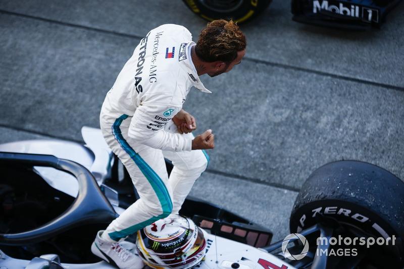 Lewis Hamilton, Mercedes AMG F1, celebrates winning